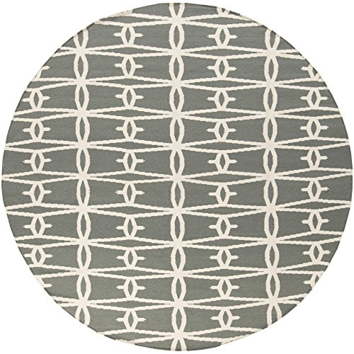 Surya Jill Rosenwald Fallon FAL-1027 Flatweave Hand Woven 100% Wool Iron Ore 8' Round Global Area Rug ()