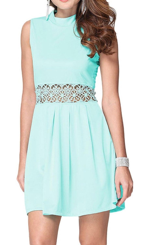 Woo2u A Line Chiffon Summer Hollow Waist Sleeveless Zip Mini Dress