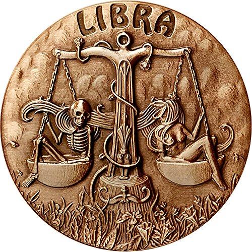 (2015 United States Skullcoins PowerCoin LIBRA Memento Mori Zodiac Skull Horoscope Copper Coin 2015 Antique Finish)
