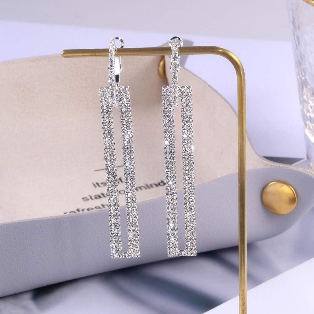 Lsgepavilion Lady Fashion Long Rectangle Boucles doreilles incrust/ées de Strass Pleins Boucles doreilles Huggie Bijoux pour banquets
