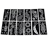 HUELE 12 Pcs Tattoo Stencil Template Henna Designs Self-Adhesive Reusable Art Painting Airbrush