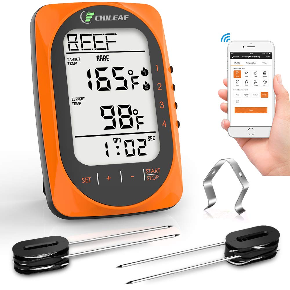 CHILEAF Wireless BBQ Thermometer - Meat Thermometer with 4 Probes, App Remote, Instant Read LCD Display, Timer & Alarm Mode for Smoker Grilling Kitchen Oven, Support iOS & Android, 300 Feet Range by CHILEAF