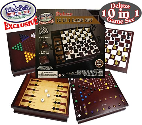 lusive Deluxe 10-in-1 Chess, Checkers, Tic Tac Toe, Backgammon, Mill, Roll Em, Insanity, Chinese Checkers, Mancala & Pick-Up Sticks Wooden Cabinet Game Set ()