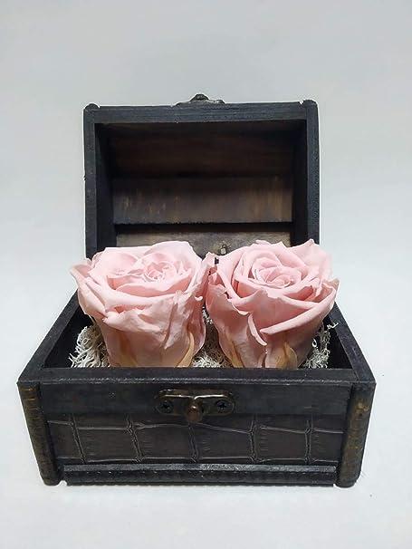 Rosa Natural preservada eterna, Color Rosa Light. Gratis TU ENVÍO. Cofre de Madera con Dos Rosas eternas Color Rosa Claro. Fabricado en España: Amazon.es: Hogar
