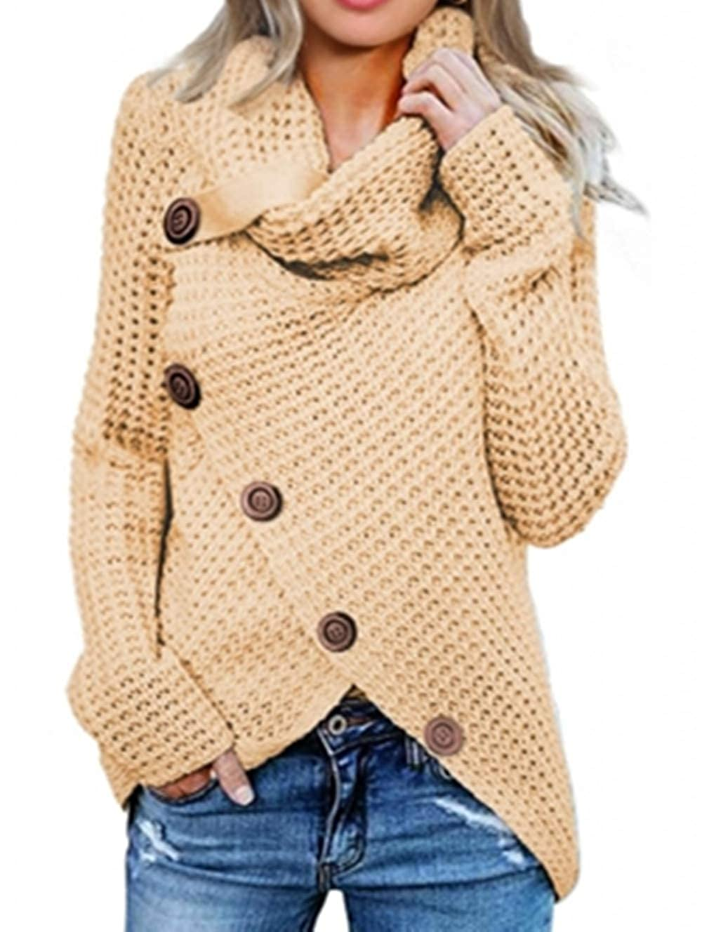 FIYOTE Cardigan Casual Taglia: S//M//L//XL//XXL Maglione Invernale da Donna con Colletto a rotelle