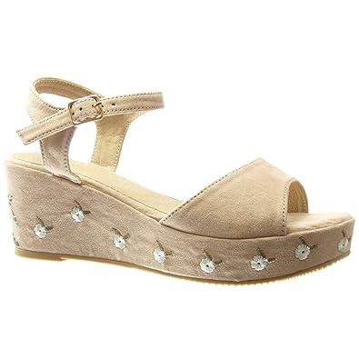 Angkorly Damen Schuhe Sandalen Mule - Plateauschuhe - Blumen - Bestickt Keilabsatz High Heel 6.5 cm