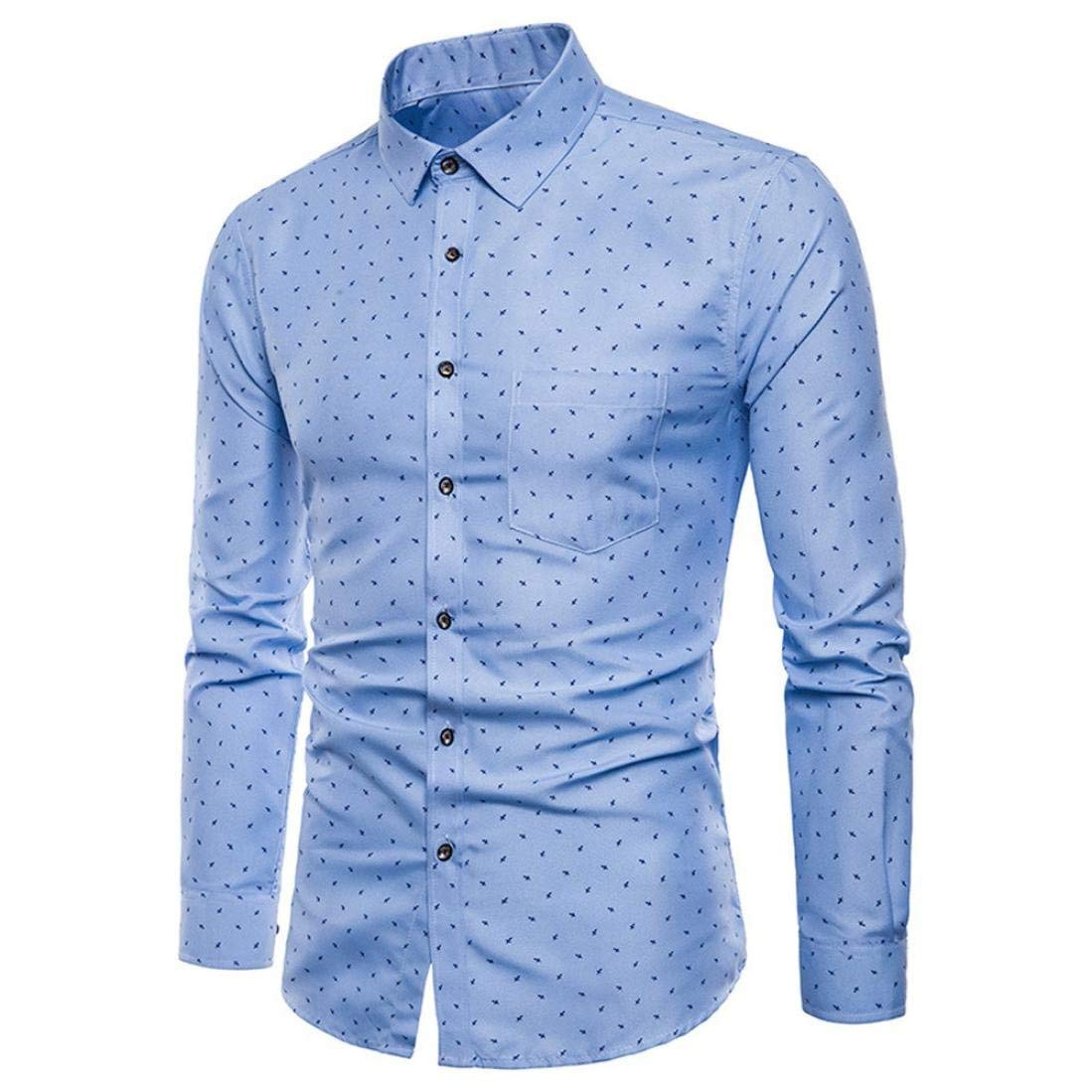 Mens Long Sleeve Oxford Formal Fashion Elegant Casual Suits Slim Fit T-Shirt Shirts Blouse TopLong Sleeve Cotton Polo Party