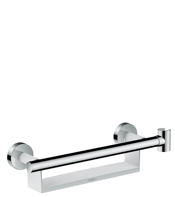 Blanco//Cromo Hansgrohe 26328400 Unica Comfort Asidero con repisa y soporte de ducha