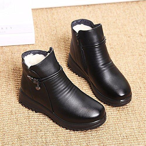 Tamaño Black Calzado Terciopelo Mujer Plus De Con Invierno Gran Grueso Botas Algodón Hxvu56546 Plana Zapatos 4xafOwHO6q