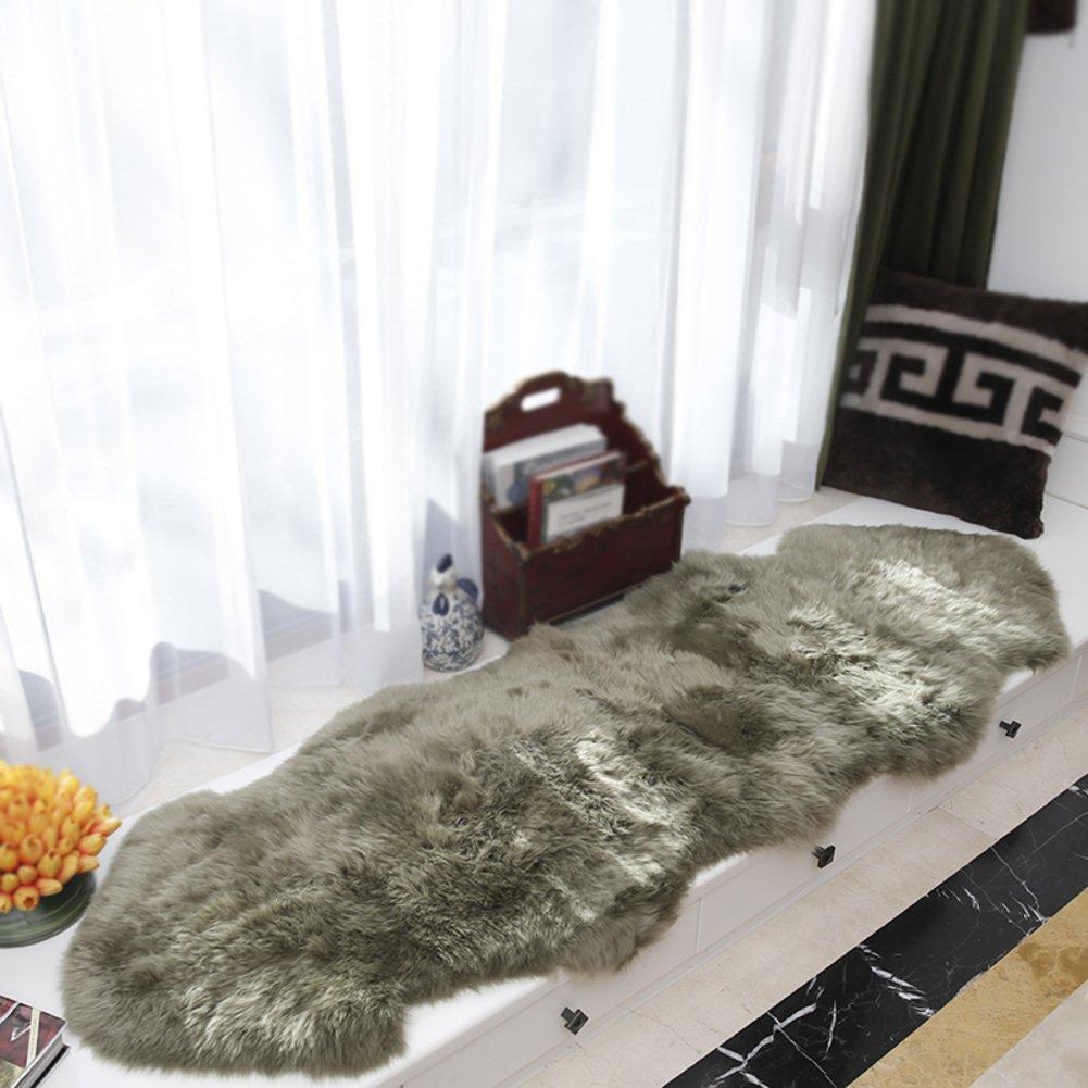 Thickened floating window mat,Winter plush chair pads Thicken Non slip Living room Sofa cushions Tan Keep warm-dark brown 60x95cm(24x37inch)
