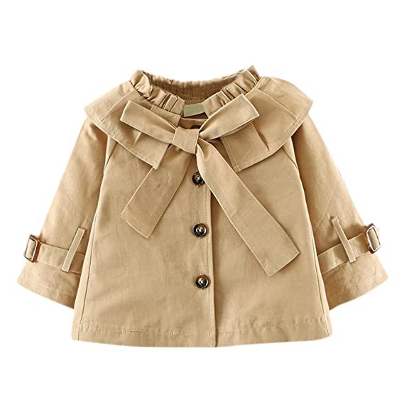 Highdas Abrigo de bebé de Las Muchachas Trench Coat Bowknot de bebé Princesa Autumn Windbreaker Jacket Coat Outwear: Amazon.es: Ropa y accesorios