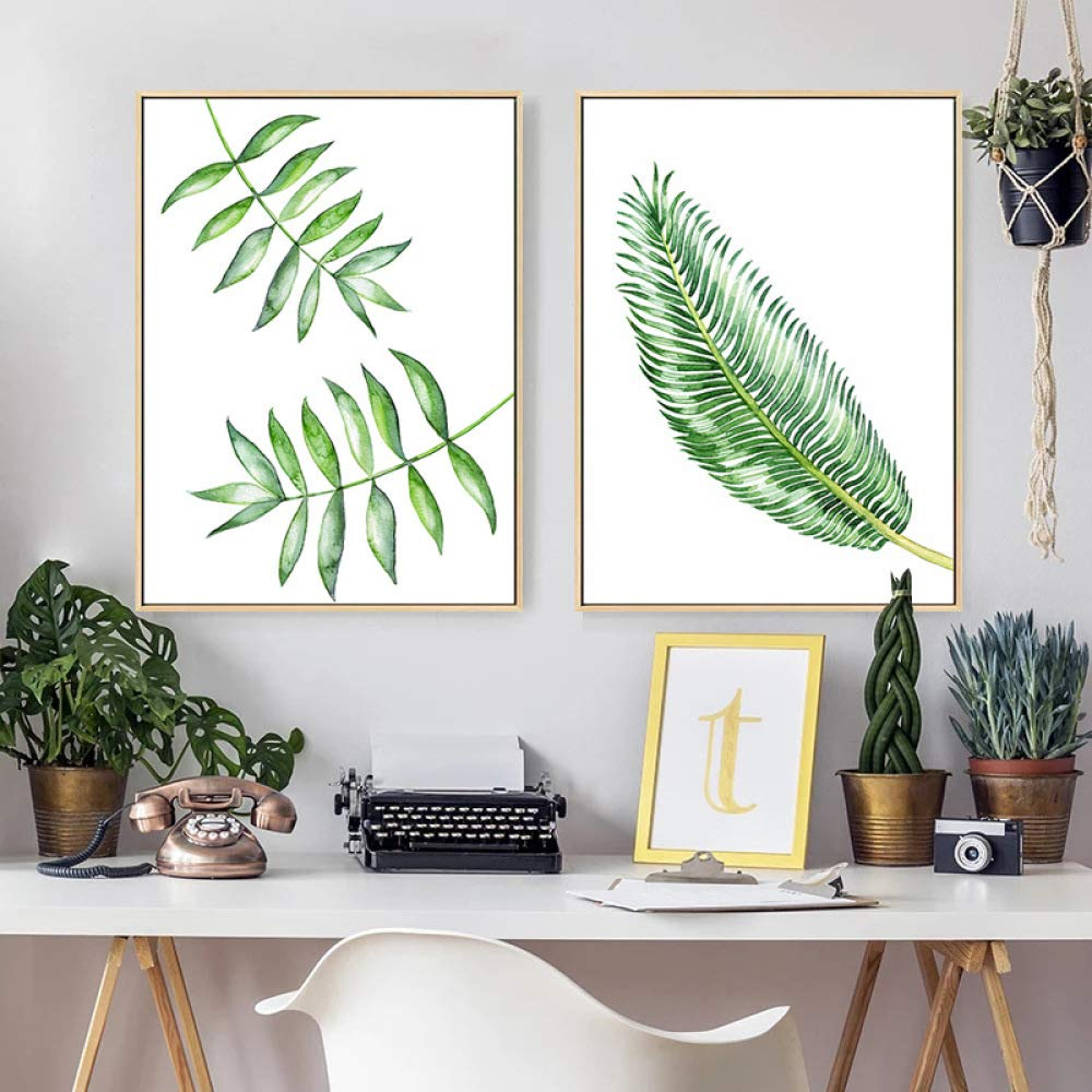 Combinación de planta verde moderna, de pintura decorativa minimalista moderna, verde pequeñas pinturas de patrones de plantas frescas, murales elegantes y exquisitos, pintura decorativa dormitorio creativo sala de estar,F,40  60 CWJ d77ec7