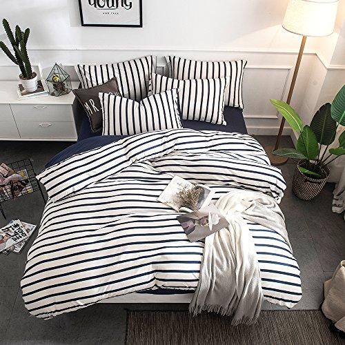 Merryfeel Cotton Duvet Cover Set,100% Cotton Jersey Knit Striped Duvet Cover and Pillowshams,3 Pieces Bedding Set - (Queen,Navy Stripe)