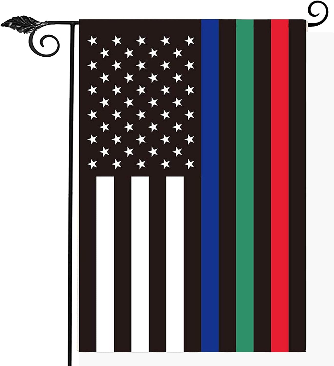 Red Blue Greeen Line American Garden Flag- Support Firefighter Police USA Flags 12x18 Inch for Firemen Law Enforcement