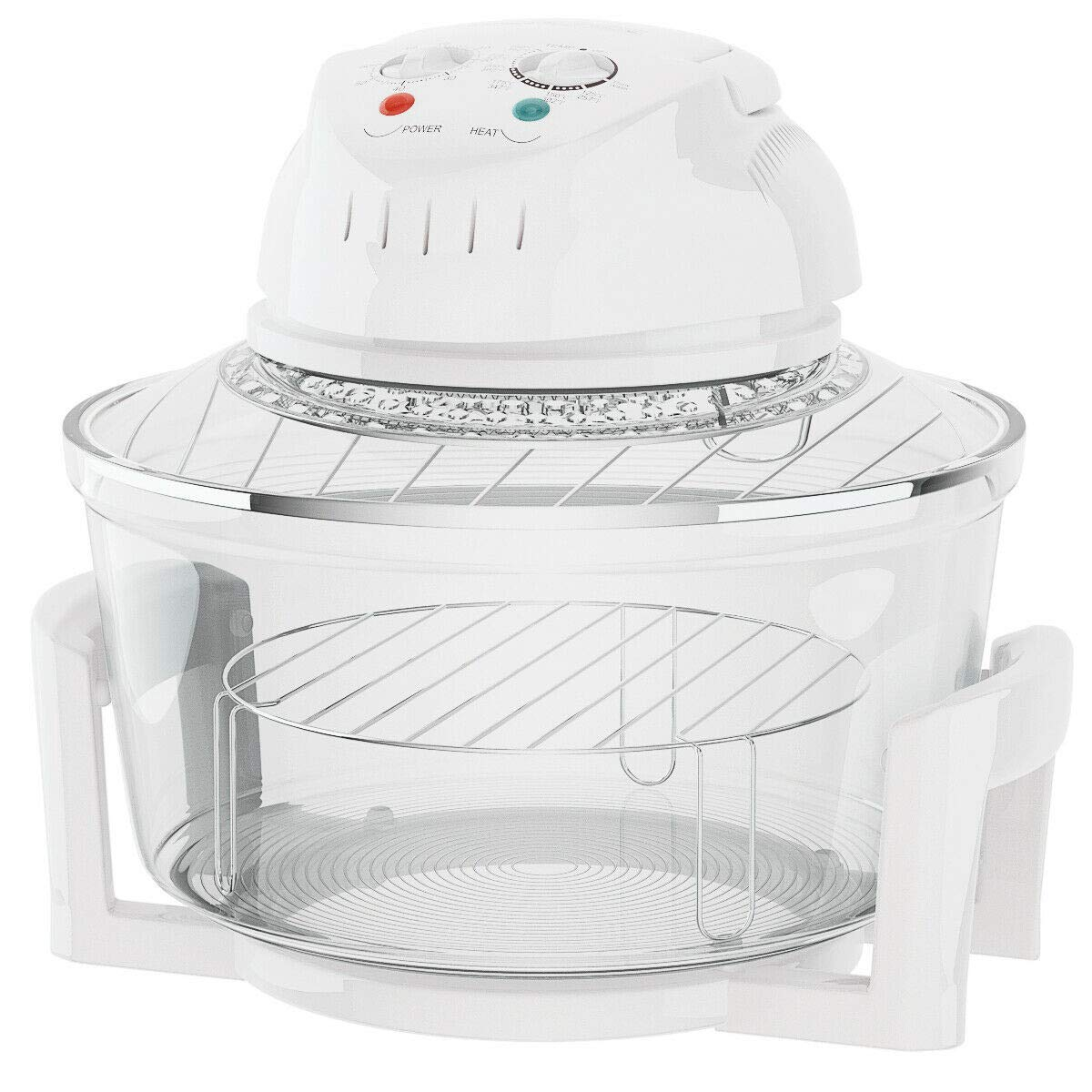 Cypress Shop Halogen Oven Convection Turbo Infrared Oven Cooker1300 Watt Cooking Glass Bowl 12-17 Liters For Roast Bake Broil Stream Fry Food Kitchen Tools Utensil Tools Safe Clean Home Stuffs
