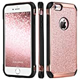 iPhone 6 Case,iPhone 6s Case,BENTOBEN Ultra Slim Dual Layer Hybrid Hard Shell with Sparkly Glitter PU Leather Soft TPU Bumper Rugged Shockproof Protective Phone Cases Cover for iPhone 6/ iPhone 6S, Cute Rose Gold