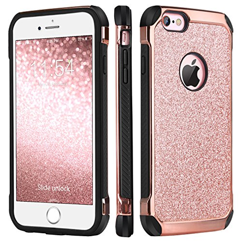 BENTOBEN iPhone 6 Case, iPhone 6S Case, Glitter Luxury 2 in 1 Slim Hard Laminated with Sparkly Shiny Faux Leather Chrome Shockproof Protective Case for iPhone 6/iPhone 6S (4.7 inch), Rose Gold