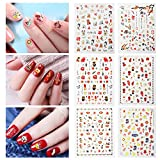 Fanme Happy New Year Nail Stickers for Chinese Lunar New Year Nail Art Tattoo Decals DIY Nail Art Decoration Self-adhesive Tip Stickers 6Sheets (New Year)