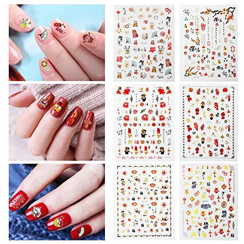 Fanme Happy New Year Nail Stickers for Chinese Lunar New Year Nail Art Tattoo Decals DIY Nail Art Decoration Self-adhesive Tip Stickers 6Sheets (New Year) -