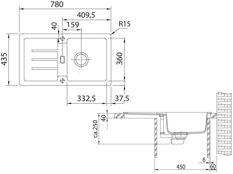 Becken revers // 1140303666 Franke Einbausp/üle Strata STG 614-78 Fragranit DuraKleenPlus Onyx