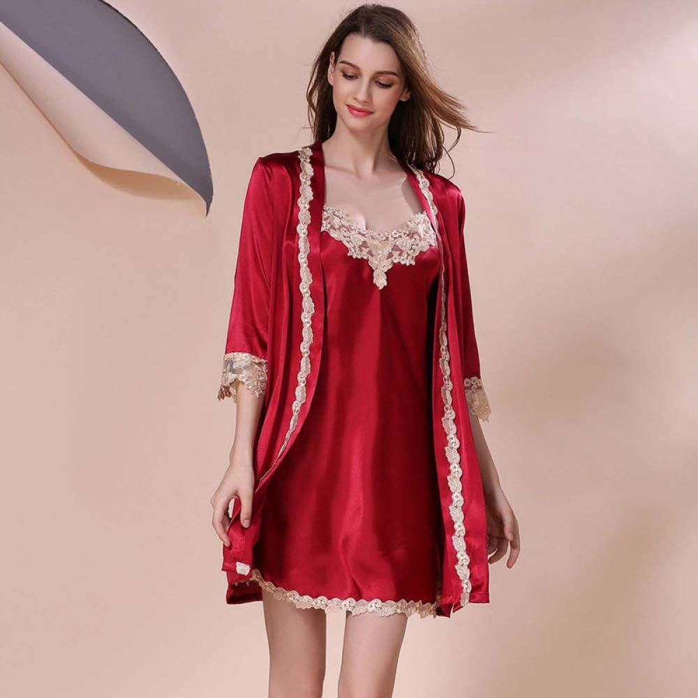 Handaxian Camisón de Encaje Rojo para Mujer camisón camisón para ...