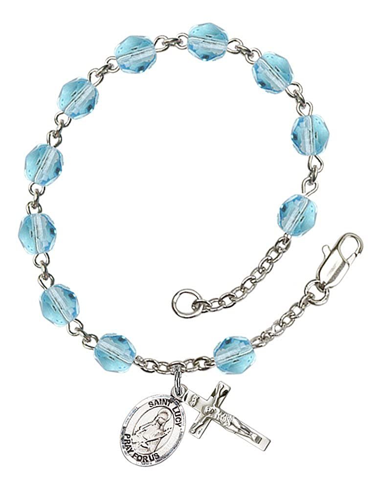 Silver Plate Rosary Bracelet features 6mm Aqua Fire Polished beads Patron Saint The charm features a St Lucy medal The Crucifix measures 5//8 x 1//4