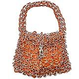 NOVICA Metallic Recycled Aluminum Soda Pop-top Bag, 'Mini-Shimmery Orange'