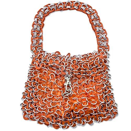NOVICA Metallic Recycled Aluminum Soda Pop-top Bag, 'Mini-Shimmery Orange' by NOVICA