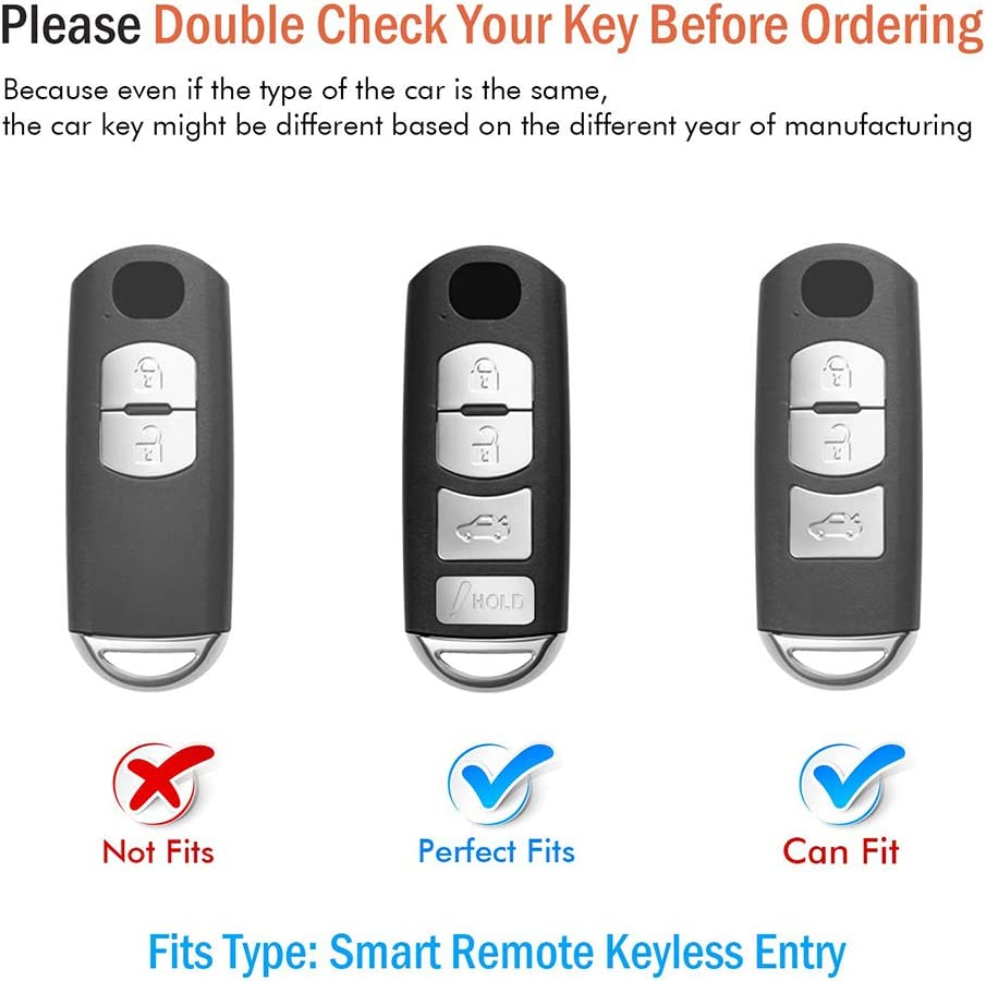 Key Fob Case for Mazda 3 6 8 Miata MX-5 CX-3 CX-5 CX-7 CX-9 4-Buttons Premium Soft TPU Full Cover Protection Smart Remote Keyless Key Fob Shell,Silver 121Fruit Way for Mazda Key Fob Cover