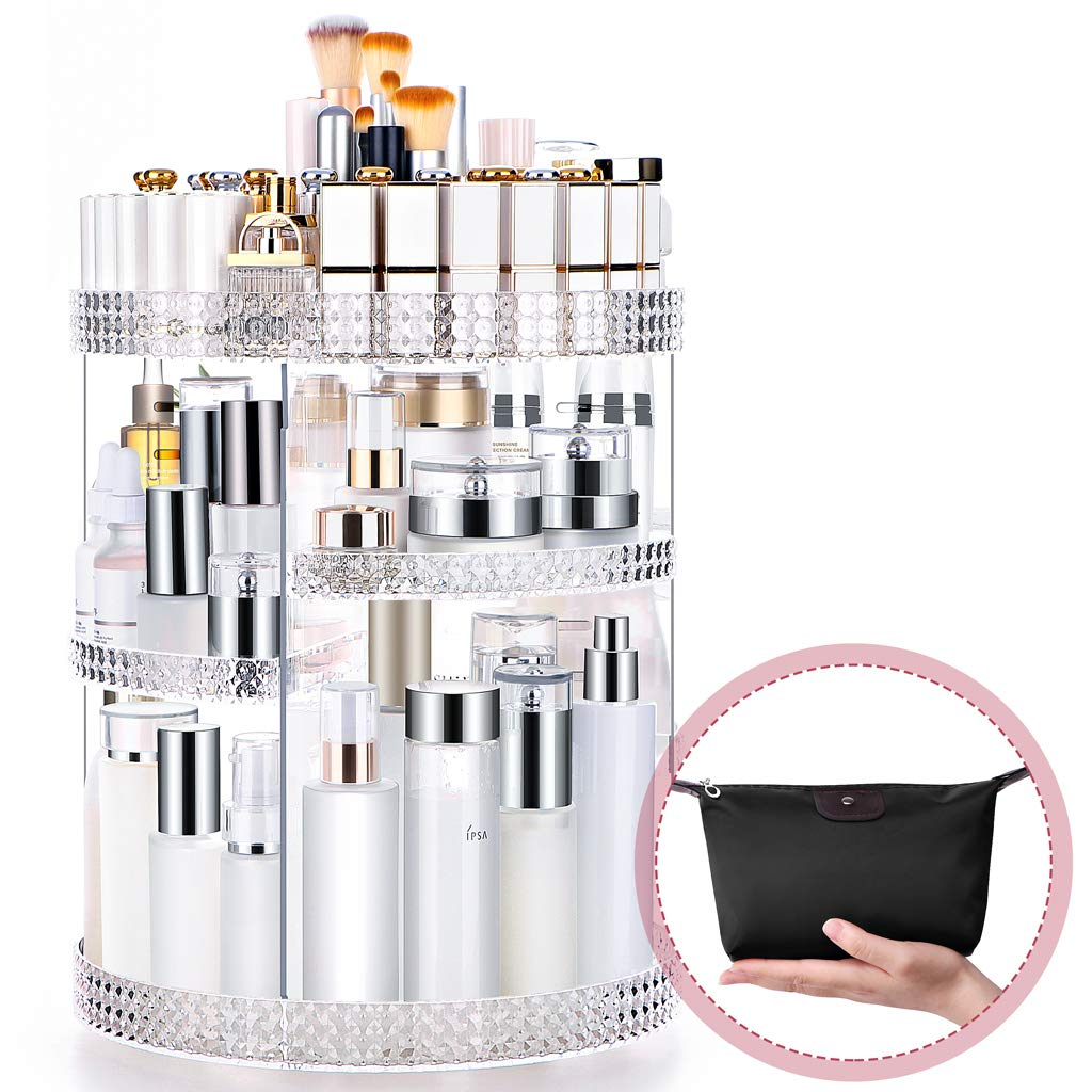 Famitree Rotating Makeup Organizer, Acrylic Clear Perfume Organizer, 7 Adjustable Layers Large Capacity Cosmetic Carousel, Fits Different Cosmetics and Toiletries for Vanity and Bathroom - Plus Size