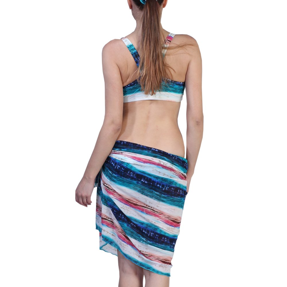 f2498d8817 Horizontal Striped Classy Bikini Set With Matching Sarong: Amazon.in:  Clothing & Accessories