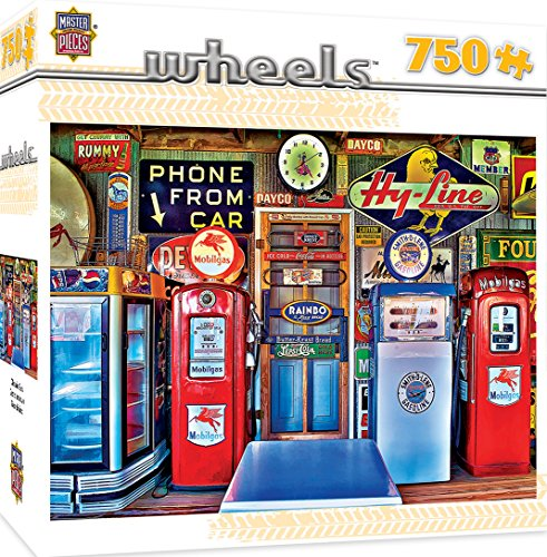 Antique Puzzle Box - MasterPieces Wheels Classic Gas - Antique Gas Pumps 750 Piece Jigsaw Puzzle by Linda Berman