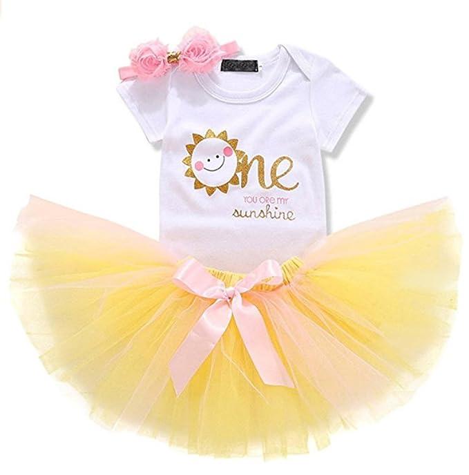 f65d924ca089 Amazon.com  Baby Girls 1st Birthday Princess Costume Dress Cotton Romper  and Yellow Tutu Skirt Outfit Set (9-18 Motnhs