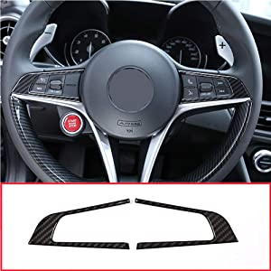 YIWANG Car Interior Steering Wheel Button Frame Trim Cover 2pcs For Alfa Romeo Giulia 2016-2019 Auto Accessories (Carbon Fiber)