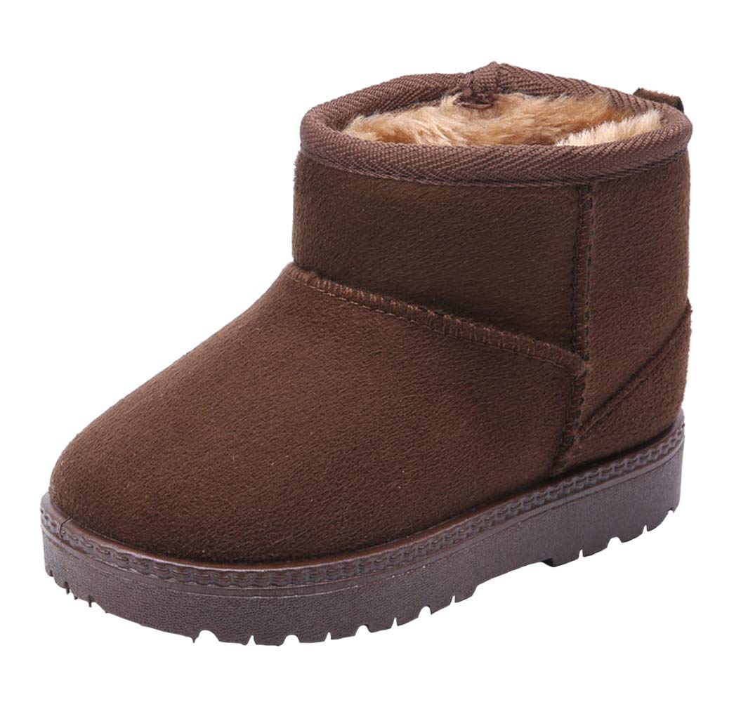 WUIWUIYU Kids' Boys' Girls' Round Toe Outdoor Warm Fur Lined Winter Snow Boots Toddler Little Kid