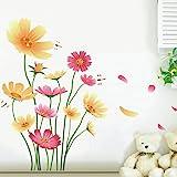 Chrysanthemums Butterflies Dragonflies Garden Wall Decal PVC Home Sticker House Vinyl Paper Decoration WallPaper Living Room Bedroom Kitchen Art Picture DIY Murals Girls Boys kids Nursery Baby