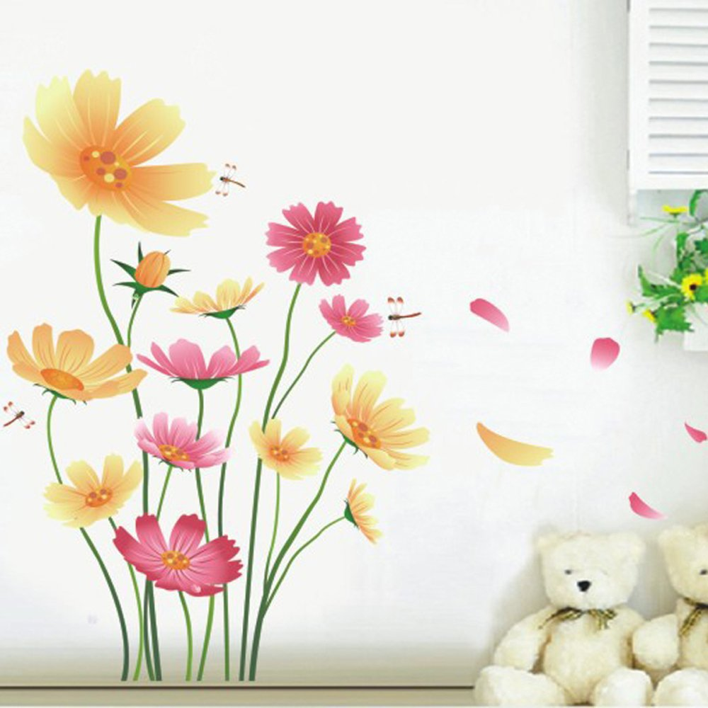 Purple Tulip Flowers Kitchen Vinyl Wall Stickers Home: Amazon.com: Wall Sticker, Hatop Red Lily Flower Wall
