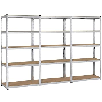 newest 750eb 587fa Yaheetech Heavy Duty 5 Tier Metal Storage Garage Shelves Adjustable  Boltless Shelving Units,71in H x 35in L x 16in D, 3 Packs