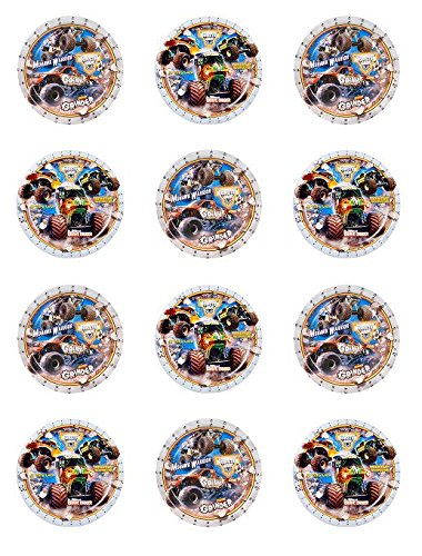 Assorted Jam (Monster Jam Assorted Edible Cupcake Toppers - Set of 12)
