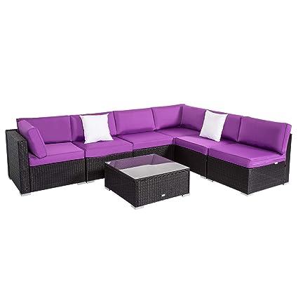 Amazon Com Peach Tree Outdoor Furniture Sectional Wicker Sofa Set