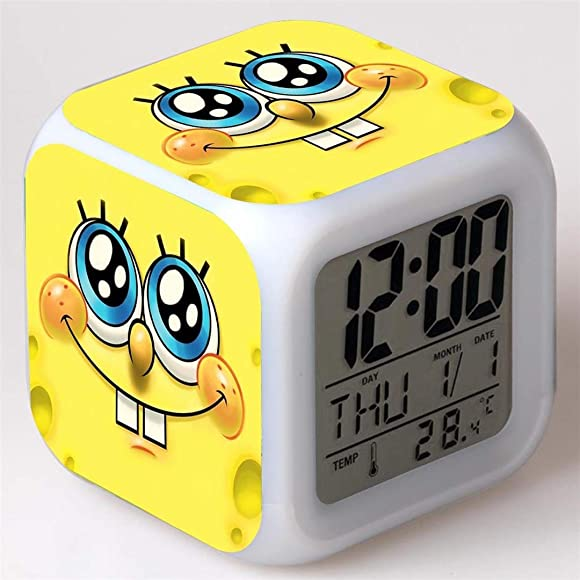 Feng Astar Bedroom Alarm Clock for Kids, Bedside Alarm Clock with 7 Color Night Light, Mini Music Wake Up Alarm Clock with 8 Sounds, Gift for Boys Girls,E