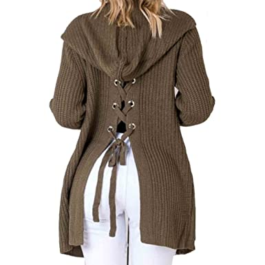 BEEY Womens Long Sleeve Lace Up Back Hooded Cardigan Sweater Tops ...