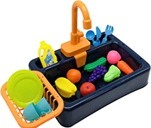 ZXSXRQPA Kitchen Sink Toy with Play Foods, cocina para niños con agua,Children Electric Dishwasher Playing Toy with Running Water, Pretend Toy with Automatic Water Cycle System for Toddlers (Blue)