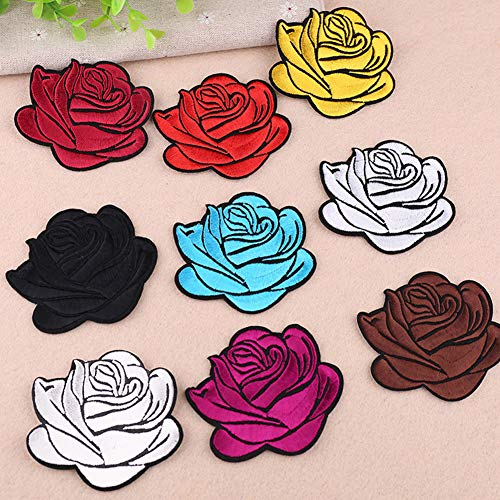 Gyswshh Tablecloth,Rose Badge Iron On Patch Decoration Flower Bag Hat Applique Clothing Accessory Red by Gyswshh (Image #4)