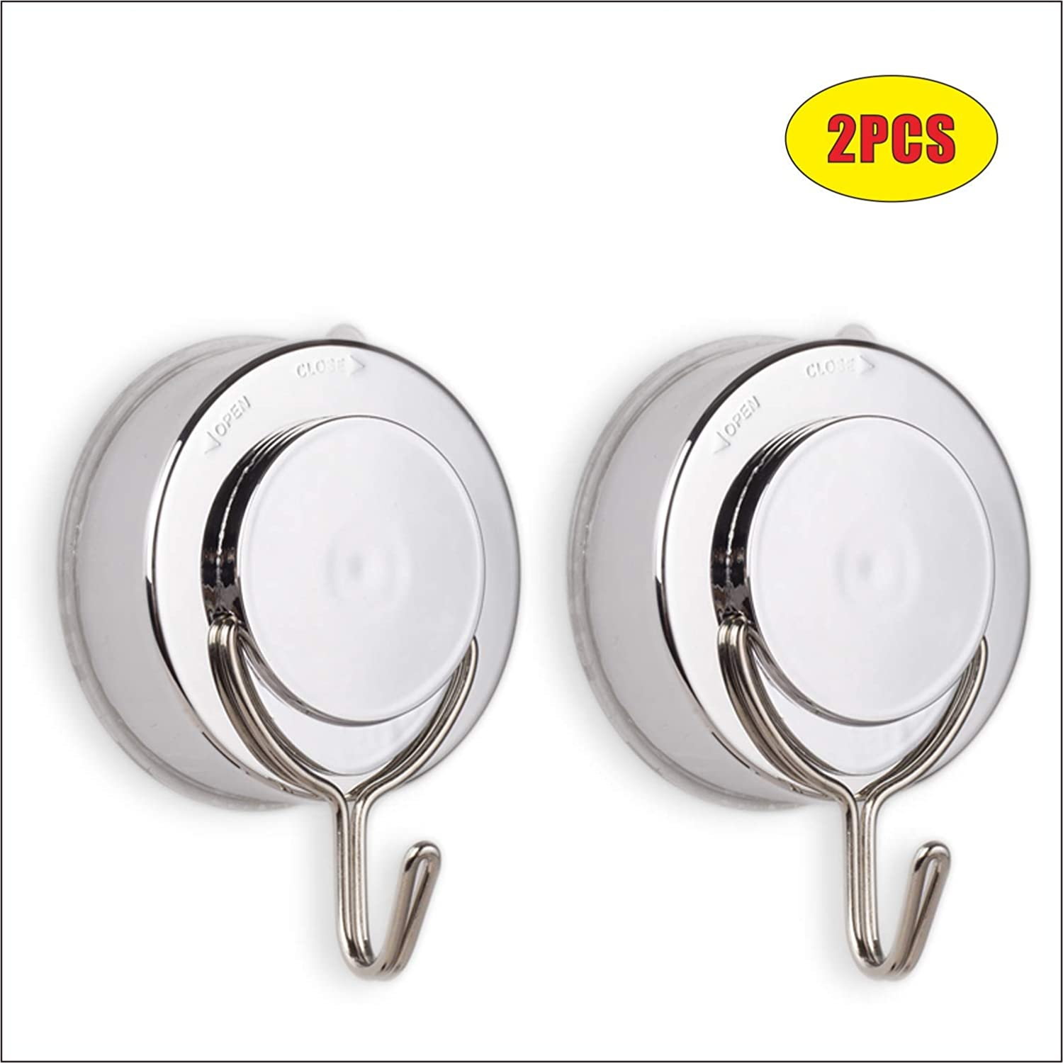 All Purpose Removable Heavy Duty Vacuum Suction Cup Hooks (Silver 2 Pcs)