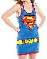 DC Comics Supergirl Juniors Blue Tank Top Dress (Juniors Large)