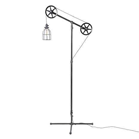 West ninth vintage black pendant industrial floor lamp with metal west ninth vintage black pendant industrial floor lamp with metal cage light aloadofball Image collections