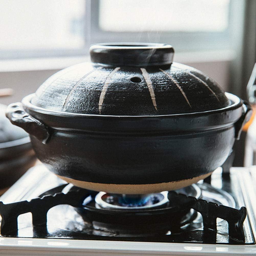 LIUSHI Handmade Ceramic Casserole with lid Stone Rice Soup Pot Heat-Resistant cookware Earthen Pot Japanese Donabe Dolsot Pot Black 1.3quart