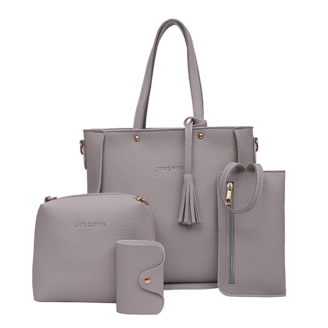 AgrinTol Women Four Set Handbag Shoulder Bags Tote Bag Crossbody Wallet Black : Shoes Four Set Handbag,Clearance