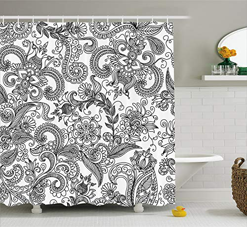 Lunarable Traditional Shower Curtain, Ancient Floral Arrangement with Paisleys Swirled Lines Sketch Style Doodles, Fabric Bathroom Decor Set with Hooks, 70 inches, White and Black
